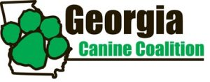Georgia Canine Coalition logo - green pawprint over the outline of the state of Georgia, Canine Coalition